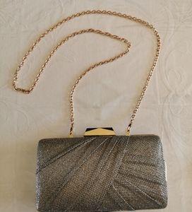 Jessica McClintock Silver Sparkle Evening Bag